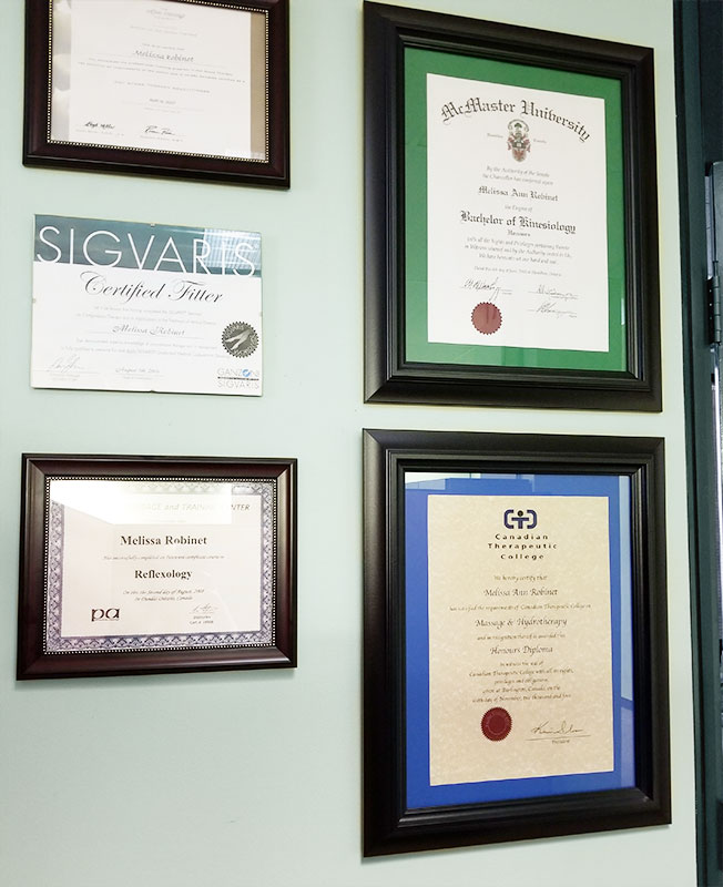 Melissa's certificates - A Touch of Wellness